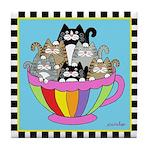 6 Cats in a Coffee Mug Blue Tile Coaster