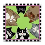 6 Hungry Kitty Cats, Green Tile Coaster