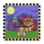 Devil, Witch, Vampire Cats Halloween Tile Coaster