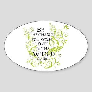 Gandhi Vine - Change - Green Oval Sticker