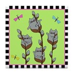 Pussy Willow Cats & Dragonflies Tile Coaster
