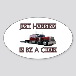Just Hanging By A Chain Oval Sticker
