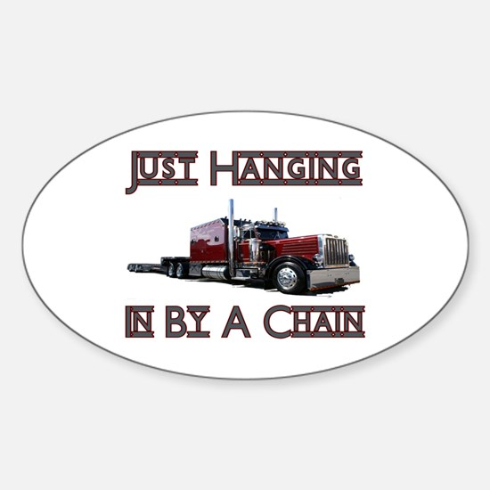 Just Hanging By A Chain Oval Decal