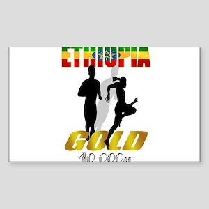 Ethiopian 10 000m Gold Athlet Rectangle Sticker