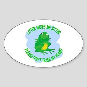 Bitter Litter Frog Oval Sticker