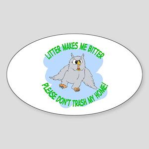 Bitter Litter Owl Oval Sticker