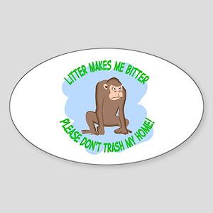 Bitter Litter Monkey Oval Sticker