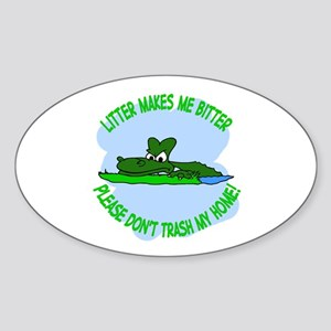 Bitter Litter gator Oval Sticker
