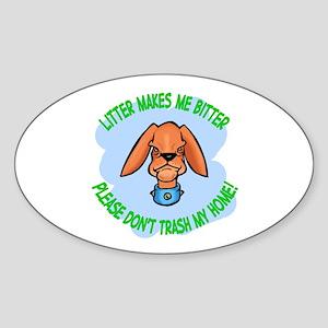 Bitter Litter Dog Oval Sticker