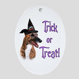 Greyhound brindle Trick Oval Ornament