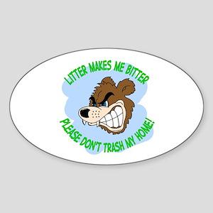 Bitter Litter Bear Oval Sticker