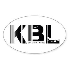 Kabul Airport Code Afghanistan KBL Oval Decal