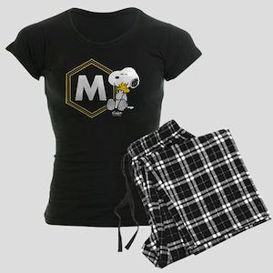 Snoopy Woodstock Monogrammed Women's Dark Pajamas