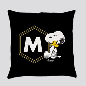 Snoopy Woodstock Monogrammed Everyday Pillow
