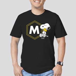 Snoopy Woodstock Monog Men's Fitted T-Shirt (dark)