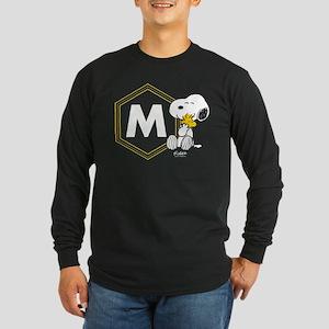 Snoopy Woodstock Monogram Long Sleeve Dark T-Shirt