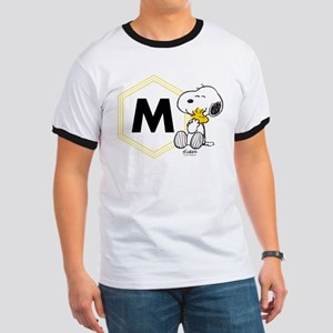 Snoopy Woodstock Monogrammed Ringer T