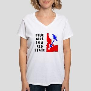 OddWaffles.com Blue Girl i Women's V-Neck T-Shirt