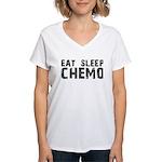 Eat Sleep Chemo Women's V-Neck T-Shirt