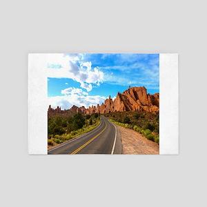sunset rocky desert road 4' x 6' Rug