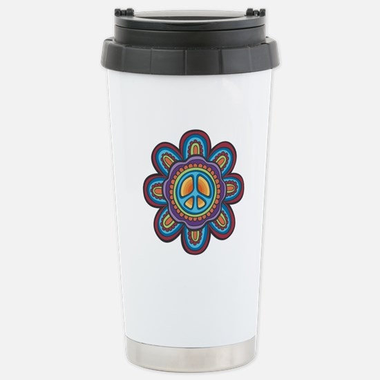 Hippie Peace Flower Stainless Steel Travel Mug