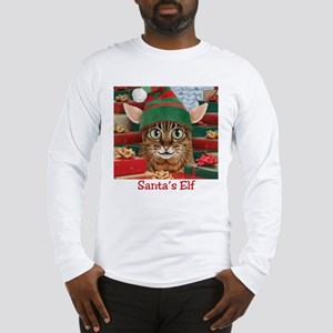 Christmas Elf-Cat Long Sleeve T-Shirt