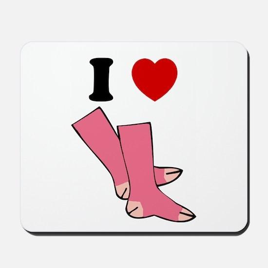 """I Love Pink Socks"" Mousepad"