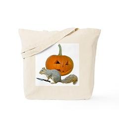 Squirrel Carving Pumpkin Tote Bag