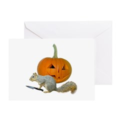 Squirrel Carving Pumpkin Greeting Card