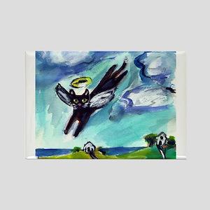 Black cat angel flys free Magnets