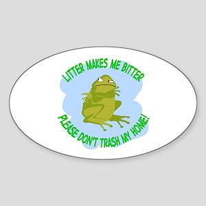 Bitter Litter Toad Oval Sticker