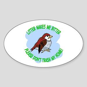 Bitter Litter Sparrow Oval Sticker