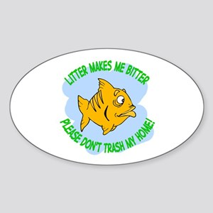Bitter Litter Fish Oval Sticker