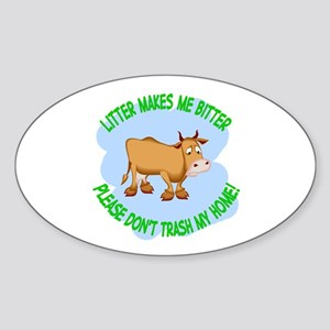 bitter litter cow Oval Sticker