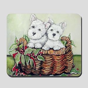 Westie Puppy Basket Mousepad