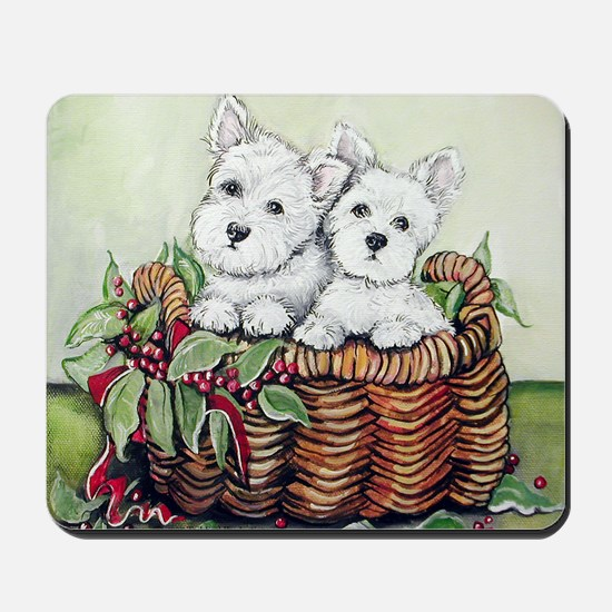 Westie Puppy Basket Mousepad