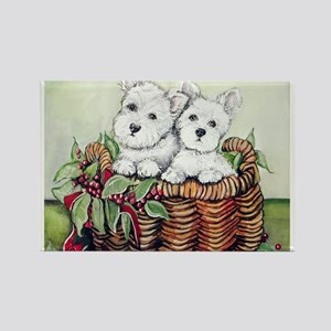 Westie Puppy Basket Rectangle Magnet