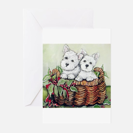 Westie Puppy Basket Greeting Cards (Pk of 20)