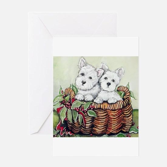 Westie Puppy Basket Greeting Card