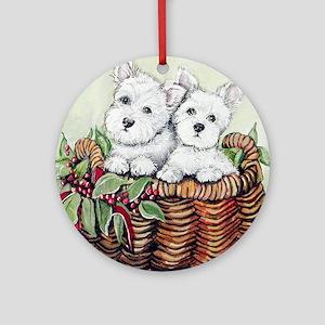 Westie Puppy Basket Ornament (Round)