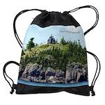 Huron Island Lighthouse Wide Angle Drawstring Bag