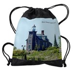 Huron Island Lighthouse Drawstring Bag