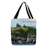 Huron Island Lighthouse Wide Polyester Tote Bag
