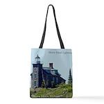 Huron Island Lighthouse Polyester Tote Bag