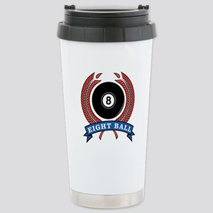 Eight Ball Red Emblem Stainless Steel Travel Mug