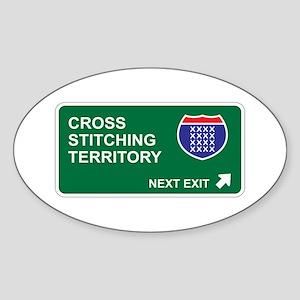 Cross, Stitching Territory Oval Sticker