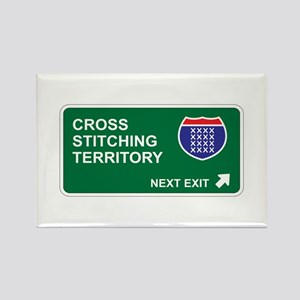 Cross, Stitching Territory Rectangle Magnet