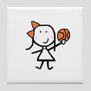 Girl & Basketball Tile Coaster
