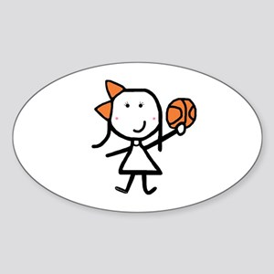 Girl & Basketball Oval Sticker