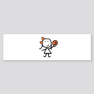 Girl & Basketball Bumper Sticker